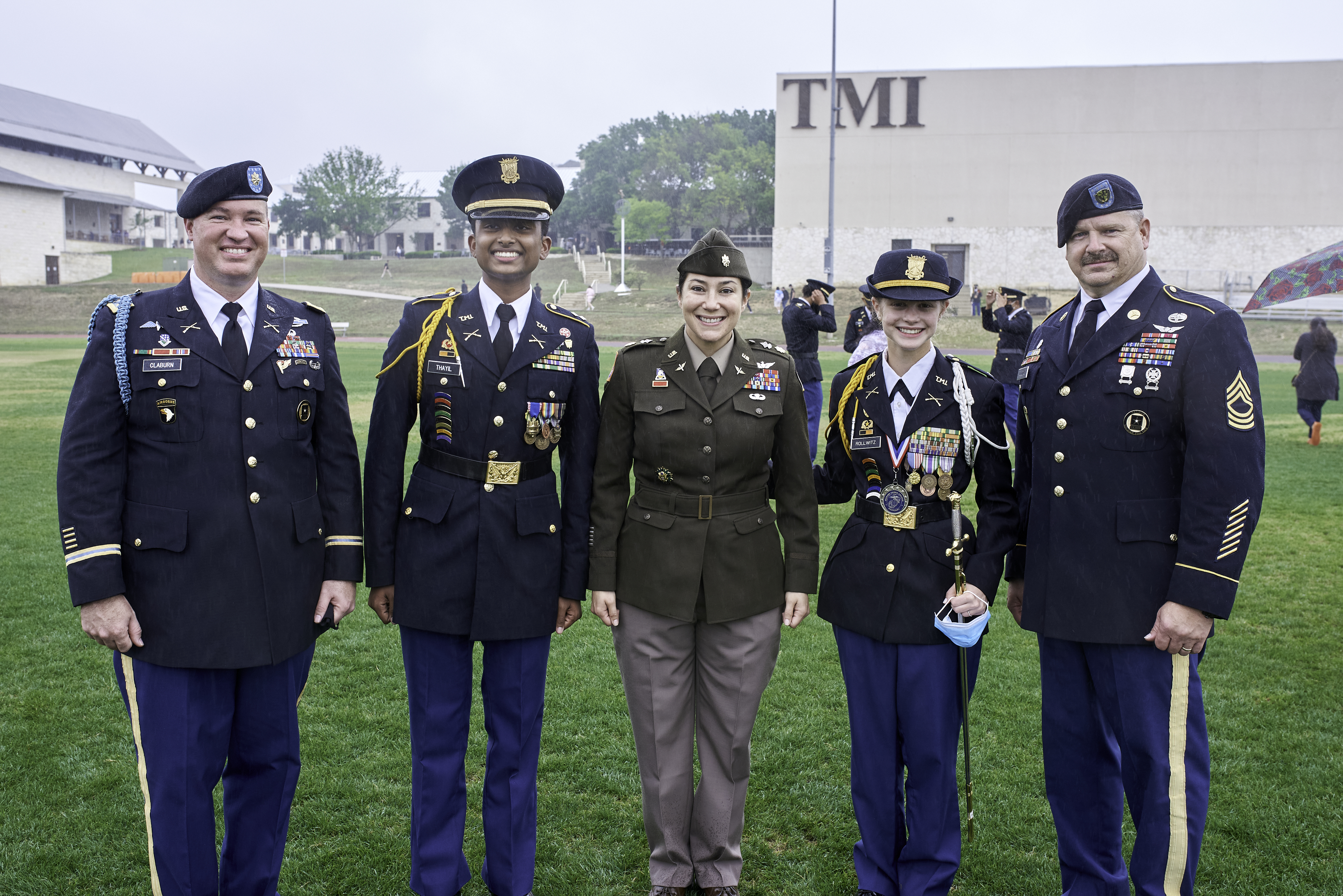 Azizi Wesmiller with cadre, cadets.jpg