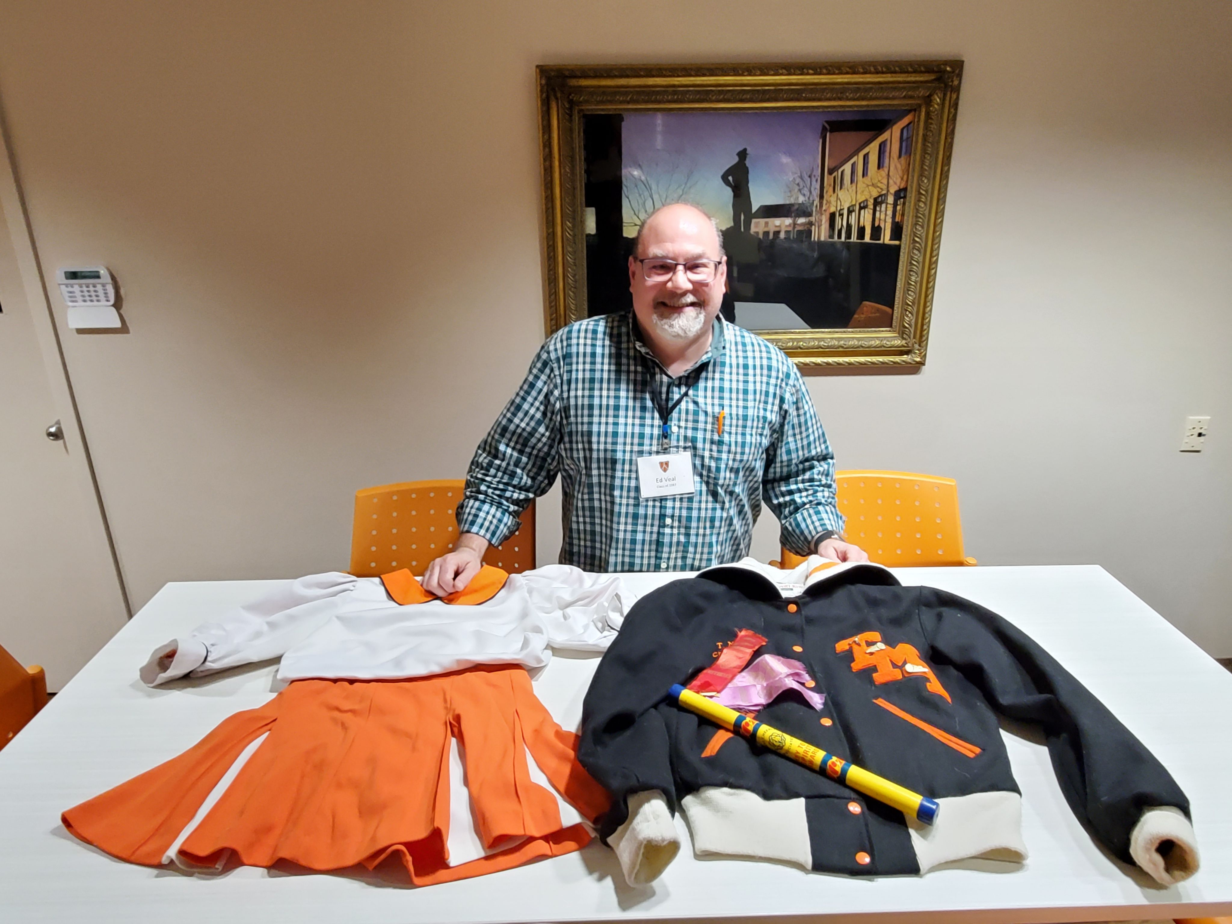 Ed Veal '87 with cheer gear from Mary Veal '89.jpg