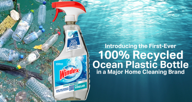 Windex cleaning solution packaged using 100% recycled ocean plastic bottle