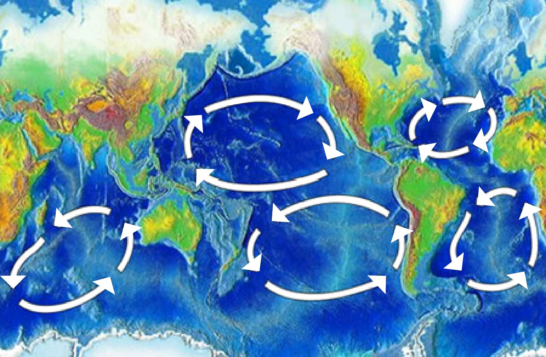5 major plastic waste gyres in the world oceans