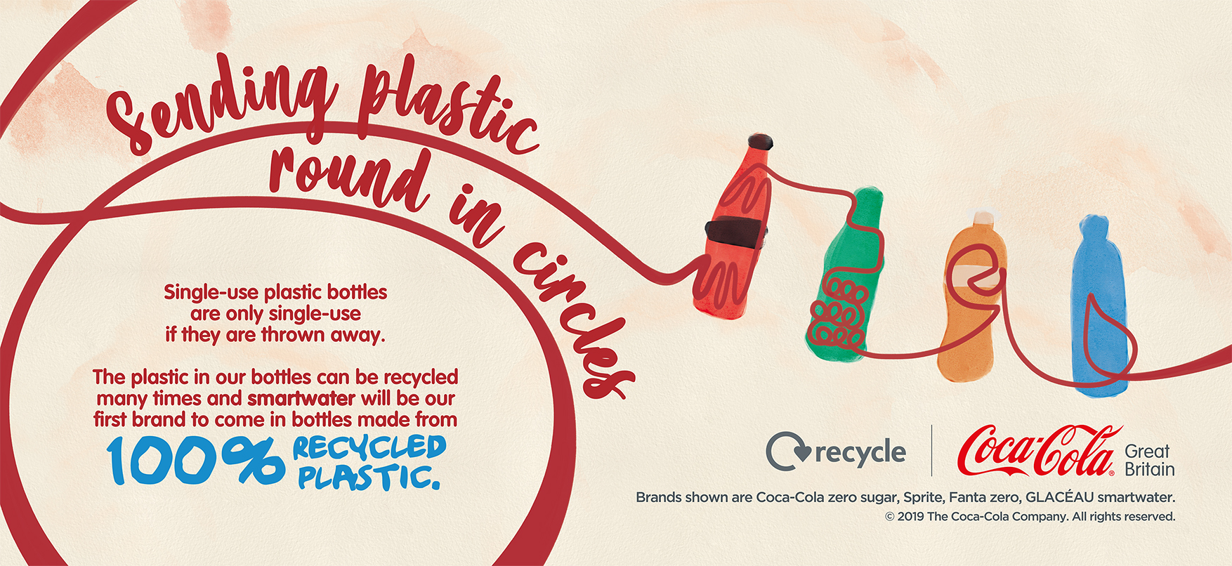 Coca Cola around the world have transitioned to using recycled plastic in their bottle manufacturing