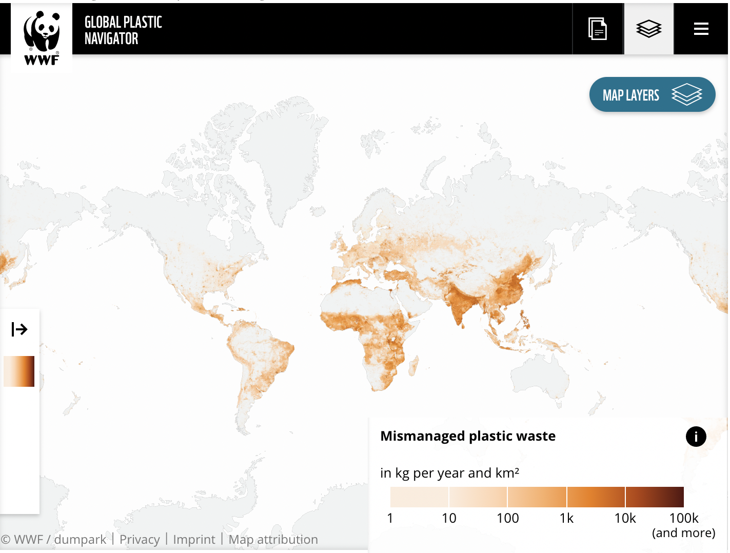 Mismanaged plastic waste around the world, an indication of the need for effective waste management programs
